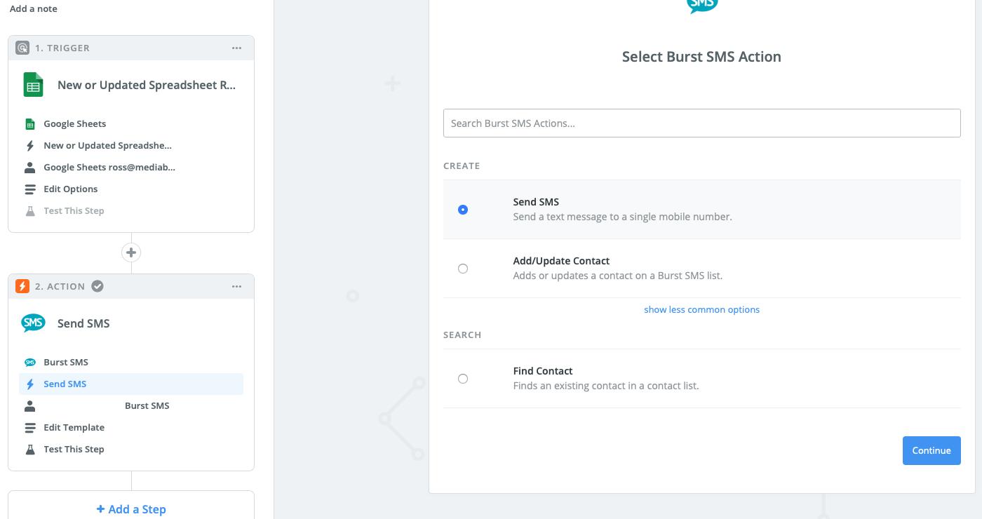 Send SMS Burst SMS and Zapier